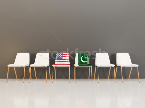 Székek zászló USA Pakisztán csetepaté 3d illusztráció Stock fotó © MikhailMishchenko