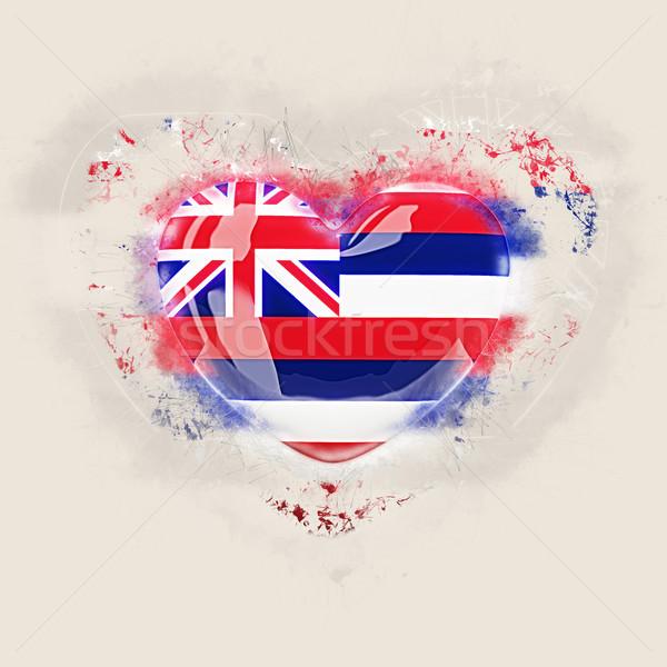 Hawaii bandiera grunge cuore Stati Uniti locale Foto d'archivio © MikhailMishchenko