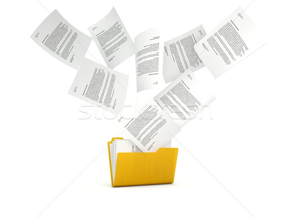 Orange folder with files isolated on white Stock photo © MikhailMishchenko