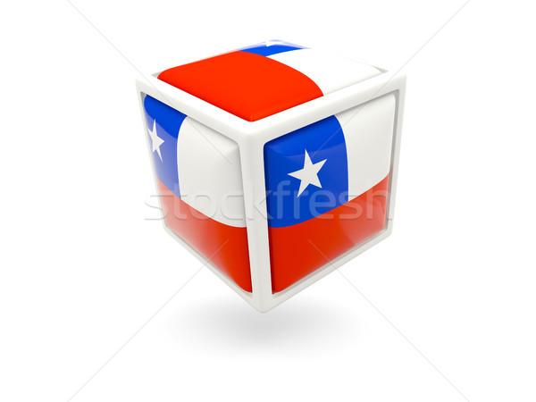 Bandeira Chile cubo ícone isolado branco Foto stock © MikhailMishchenko