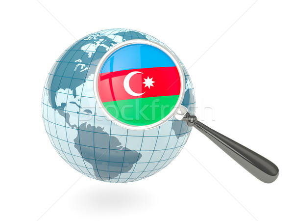 Ampliada bandera Azerbaiyán azul mundo aislado Foto stock © MikhailMishchenko