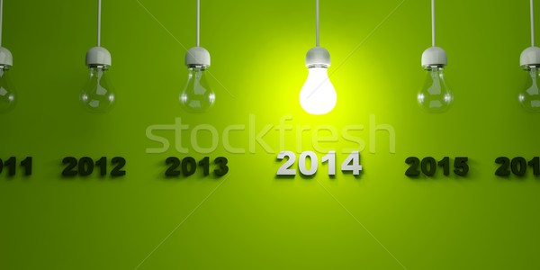 2014 New Year sign with light bulb Stock photo © MikhailMishchenko