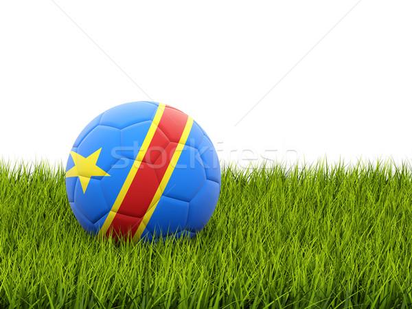 Futball zászló demokratikus köztársaság Kongó zöld fű Stock fotó © MikhailMishchenko