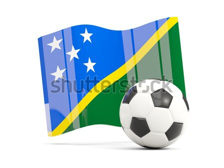 Stock photo: Flag of solomon islands with football in front of it