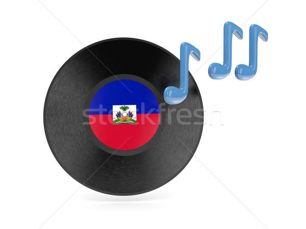 Vinile disco bandiera Haiti isolato bianco Foto d'archivio © MikhailMishchenko