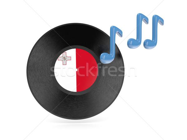 Vinyl schijf vlag Malta geïsoleerd witte Stockfoto © MikhailMishchenko