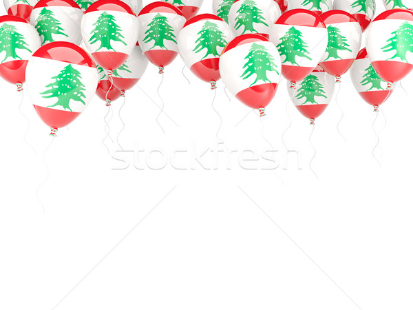 Léggömb keret zászló Libanon izolált fehér Stock fotó © MikhailMishchenko