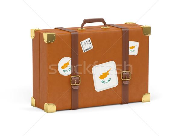 Сток-фото: чемодан · флаг · Кипр · путешествия · изолированный · белый