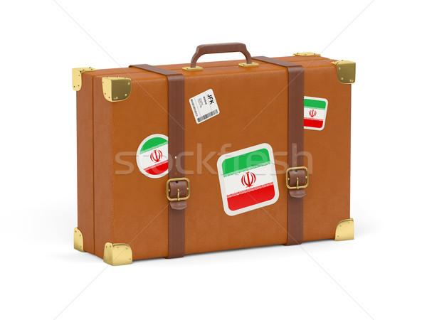 Bavul bayrak İran seyahat yalıtılmış beyaz Stok fotoğraf © MikhailMishchenko