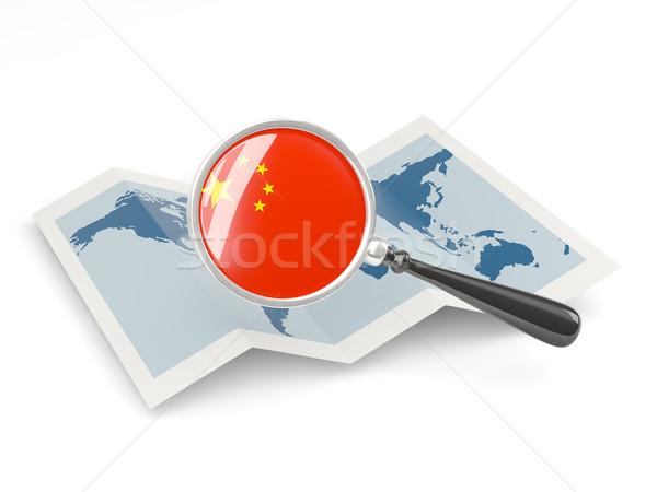 拡大された フラグ 中国 地図 旅行 ストックフォト © MikhailMishchenko
