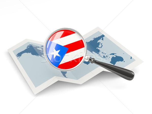 Vlag Puerto Rico kaart witte Stockfoto © MikhailMishchenko