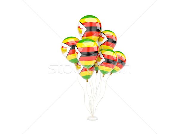 Repülés léggömbök zászló Zimbabwe izolált fehér Stock fotó © MikhailMishchenko