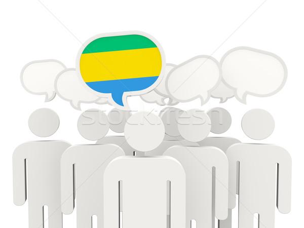 люди флаг Габон изолированный белый заседание Сток-фото © MikhailMishchenko