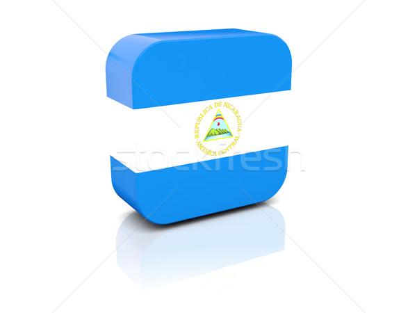 Tér ikon zászló Nicaragua tükröződés fehér Stock fotó © MikhailMishchenko