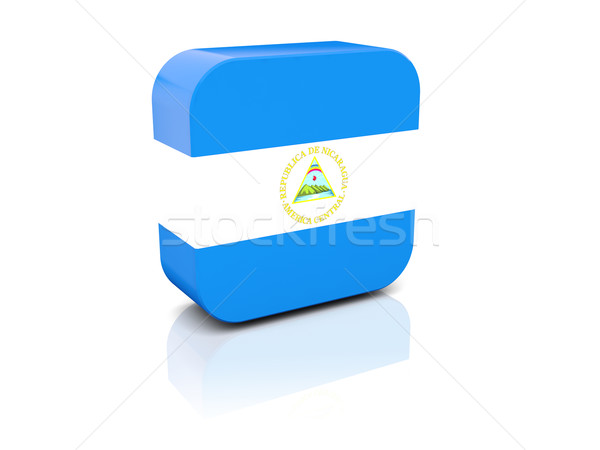 Praça ícone bandeira Nicarágua reflexão branco Foto stock © MikhailMishchenko