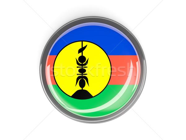 Round button with flag of new caledonia Stock photo © MikhailMishchenko