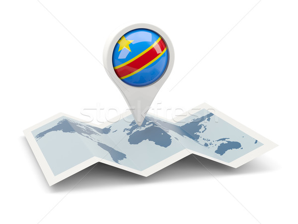 Round pin with flag of democratic republic of the congo Stock photo © MikhailMishchenko