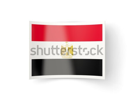 Stock photo: Square metal button with flag of egypt