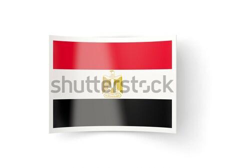 Tér fém gomb zászló Egyiptom izolált Stock fotó © MikhailMishchenko