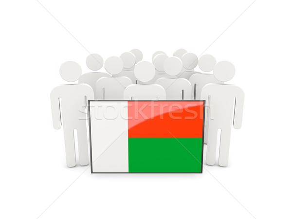 Personnes pavillon Madagascar isolé blanche foule Photo stock © MikhailMishchenko