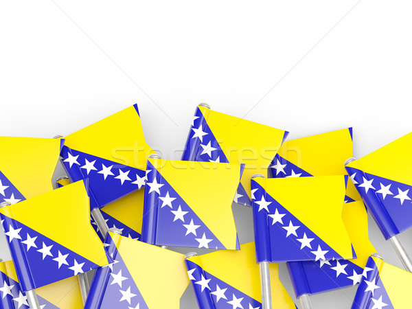 Bandeira pin Bósnia-Herzegovina isolado branco fundo Foto stock © MikhailMishchenko