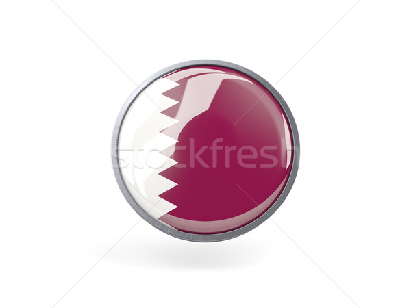 ícone bandeira Catar metal quadro viajar Foto stock © MikhailMishchenko