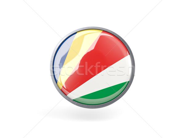 Ikon zászló Seychelle-szigetek fém keret utazás Stock fotó © MikhailMishchenko