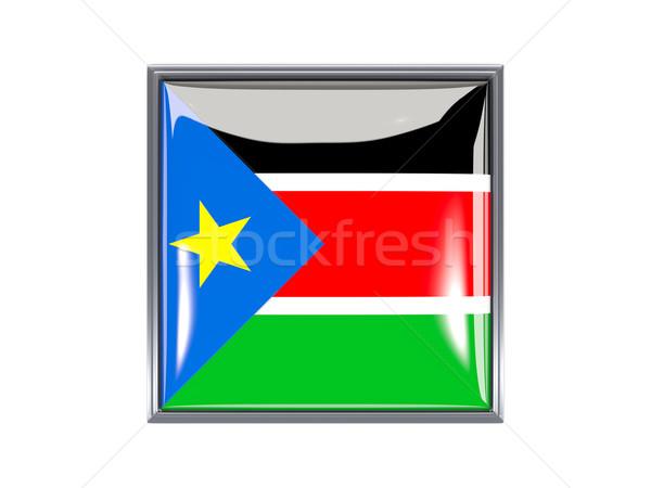 Vierkante icon vlag zuiden Soedan metaal Stockfoto © MikhailMishchenko