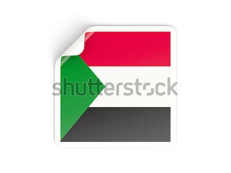 Piazza adesivo bandiera Sudan isolato bianco Foto d'archivio © MikhailMishchenko