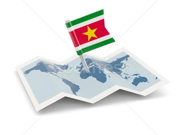 карта флаг Суринам изолированный белый Сток-фото © MikhailMishchenko