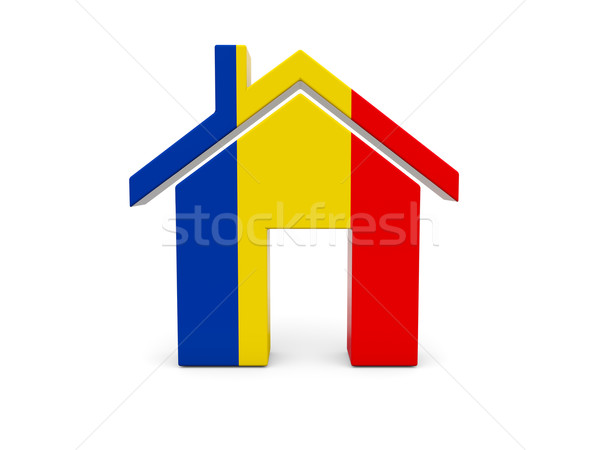 Ev bayrak Romanya yalıtılmış beyaz arama Stok fotoğraf © MikhailMishchenko