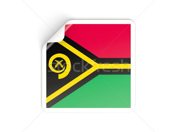 Praça adesivo bandeira Vanuatu isolado branco Foto stock © MikhailMishchenko