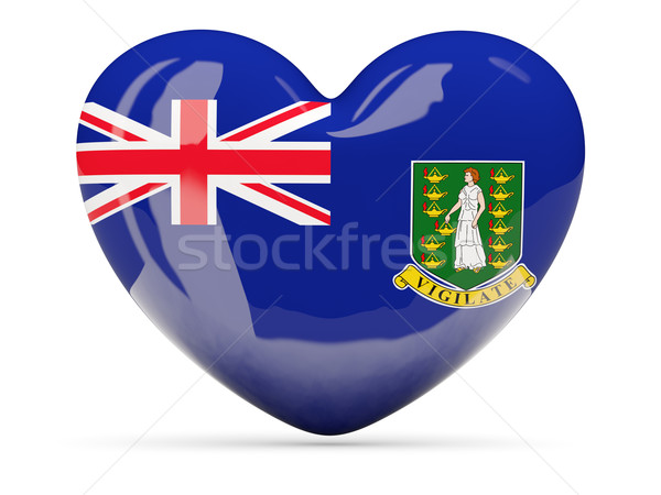 Stock photo: Heart shaped icon with flag of british virgin islands