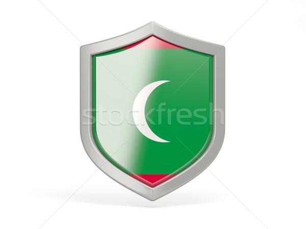 Escudo icono bandera Maldivas aislado blanco Foto stock © MikhailMishchenko