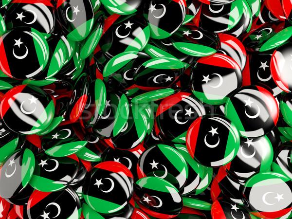 Banderą Libia tle kraju pin kółko Zdjęcia stock © MikhailMishchenko