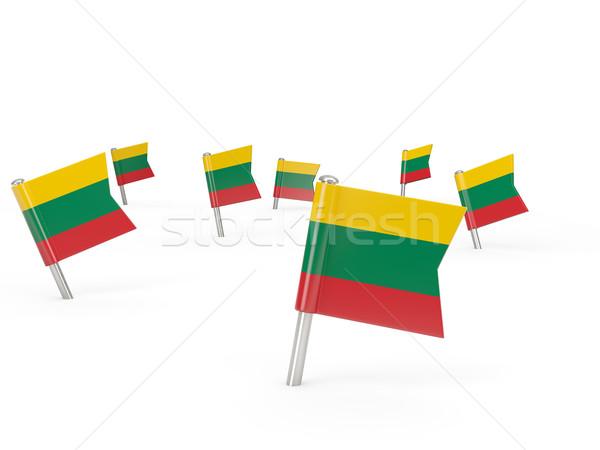 квадратный флаг Литва изолированный белый стране Сток-фото © MikhailMishchenko
