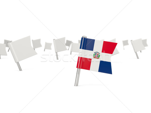 Square pin with flag of dominican republic Stock photo © MikhailMishchenko