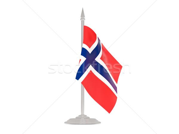 Banderą wyspa maszt 3d odizolowany biały Zdjęcia stock © MikhailMishchenko