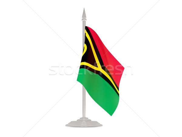 Banderą Vanuatu maszt 3d odizolowany biały Zdjęcia stock © MikhailMishchenko