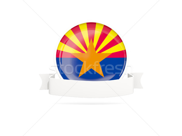 Flag of arizona with banner, US state round icon Stock photo © MikhailMishchenko