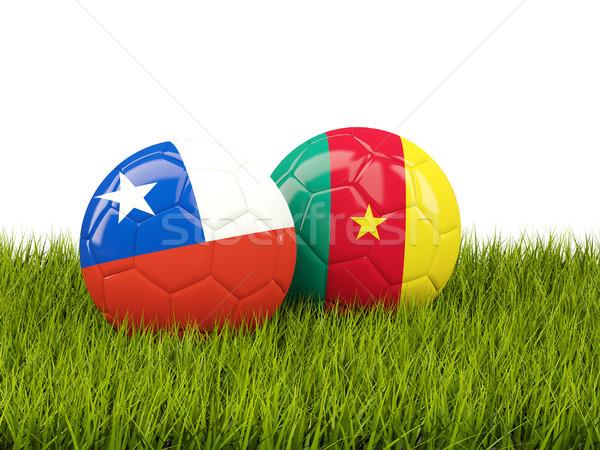 Twee vlaggen groen gras 3d illustration voetbal groene Stockfoto © MikhailMishchenko
