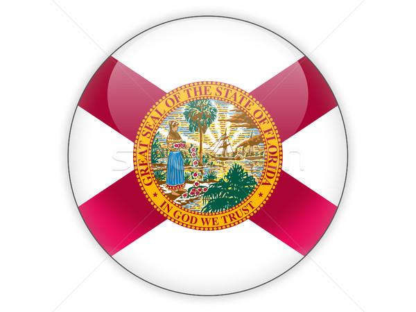 Zászló ikon izolált fehér 3d illusztráció gomb Stock fotó © MikhailMishchenko