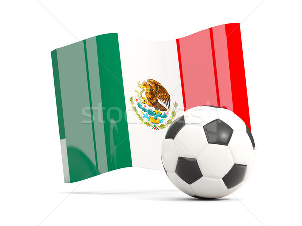 Football with waving flag of mexico isolated on white Stock photo © MikhailMishchenko