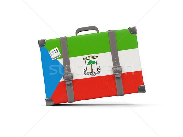 Bagagem bandeira Guiné Equatorial mala isolado branco Foto stock © MikhailMishchenko