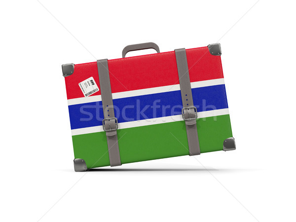Bagages pavillon Gambie valise isolé blanche Photo stock © MikhailMishchenko