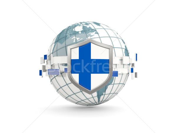 Mundo escudo bandera Finlandia aislado blanco Foto stock © MikhailMishchenko
