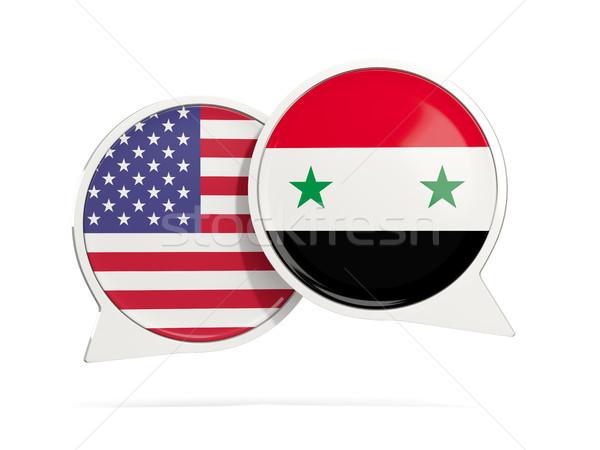 Chat bubbels USA Syrië geïsoleerd witte Stockfoto © MikhailMishchenko