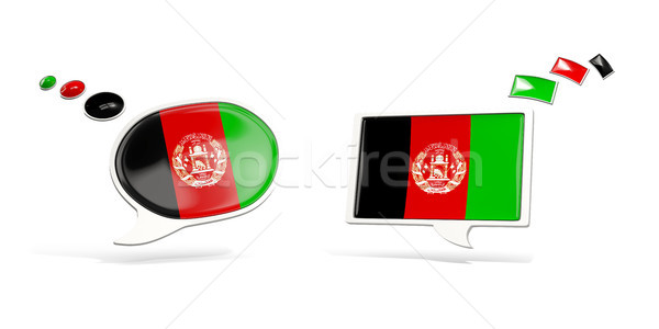 Two chat icons with flag of afghanistan Stock photo © MikhailMishchenko