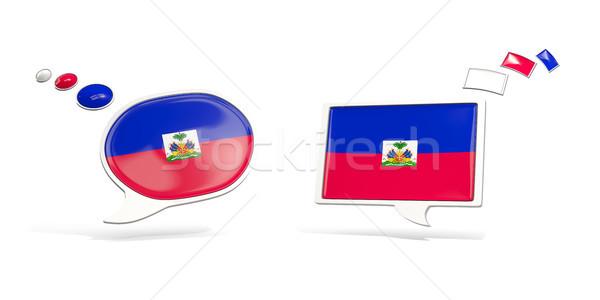 Iki sohbet simgeler bayrak Haiti kare Stok fotoğraf © MikhailMishchenko