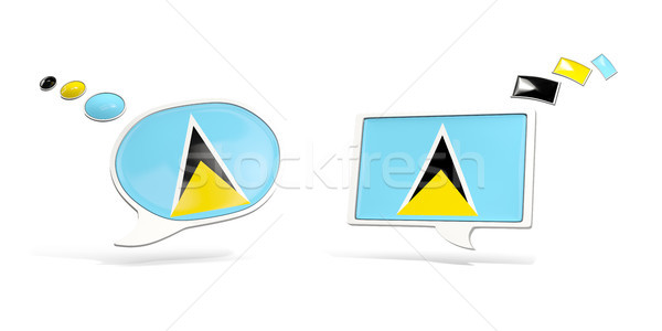 Two chat icons with flag of saint lucia Stock photo © MikhailMishchenko